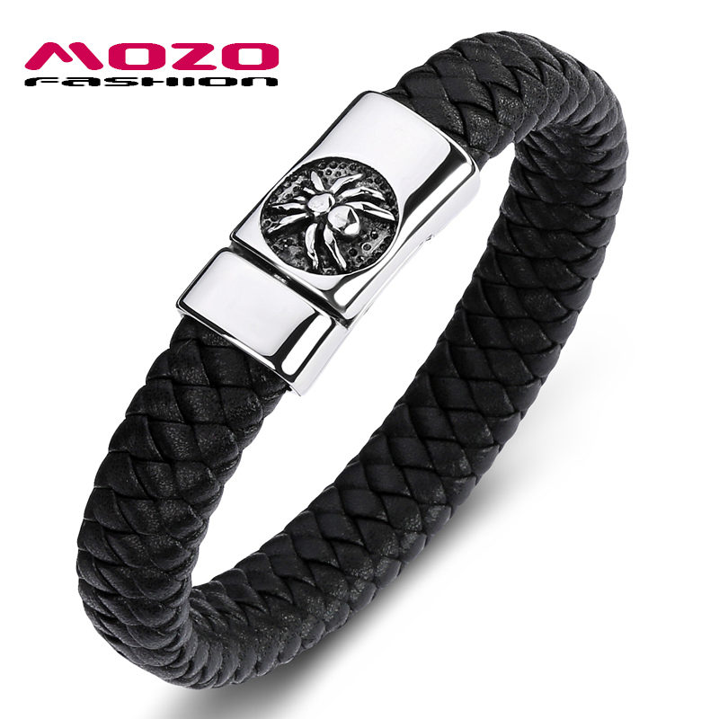 MOZO FASHION Classic Men Bracelet Black Leather Stainless Steel Flycatcher Magnet Buckle Bracelet Man Spider Punk Jewelry PS2084