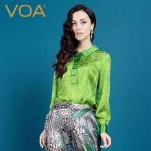 Blusas Femininas Green VOA 2017 Spring New Silk Jacquard Blouses Women Top Long Sleeve Shirt Female B1097