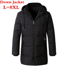 2017 new big size L-7XL Winter Down Jacket Men Coat Hooded Long White Duck Down Parka Thickening Warm Outwear  Men Winter Jacket