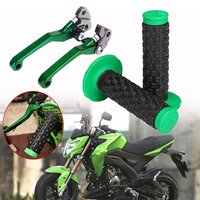 New 4pcs CNC Pivot Motorcycle Brake Clutch Lever + motorcycle Hand Grips Handle Grips for Kawasaki KX65 KX85 KX125 KX250