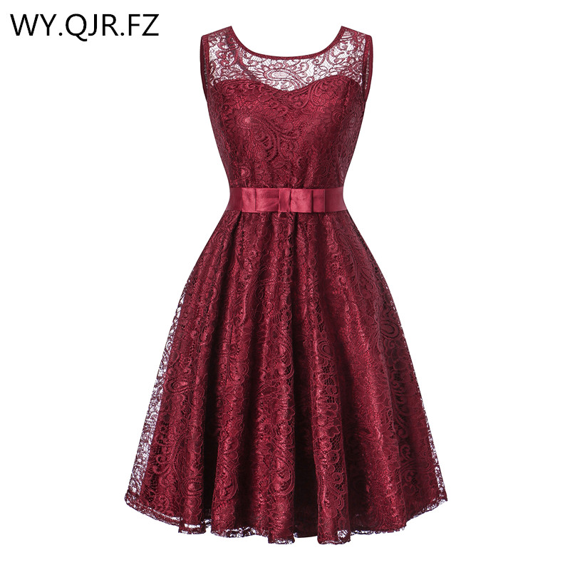 OML513J#Ball Gown Lace Splicing European American Fashion Wine Red Wedding Party Dress Prom 2019 Cheap Short Bridesmaid Dresses