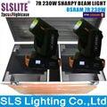2 pçs/lote com caso do vôo promoção equipamento dj sharpy Movendo Feixe Sharpy 7R Movendo a Cabeça Feixe de Iluminação Dmx 230 dmx iluminação