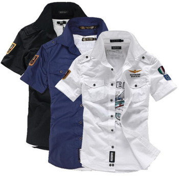 2018 NEW short sleeve shirts Fashion airforce uniform military short sleeve shirts men's dress shirt free shipping