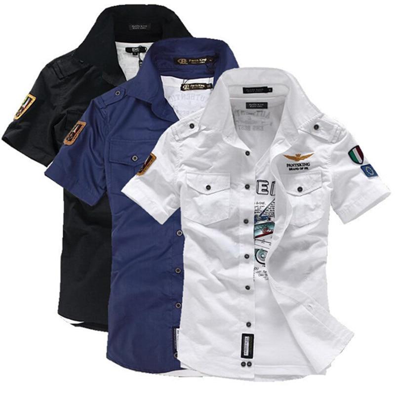 deedb9bac37 2019 NEW short sleeve shirts Fashion airforce uniform military short sleeve  shirts men s dress shirt free shipping