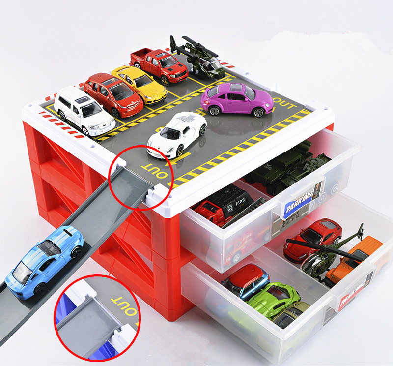 [Funny] Car Parking Lot Storage Box Alloy Luxury Mini Car Model Car Carport Garage Toy Collection Model Kids Child Baby Gift