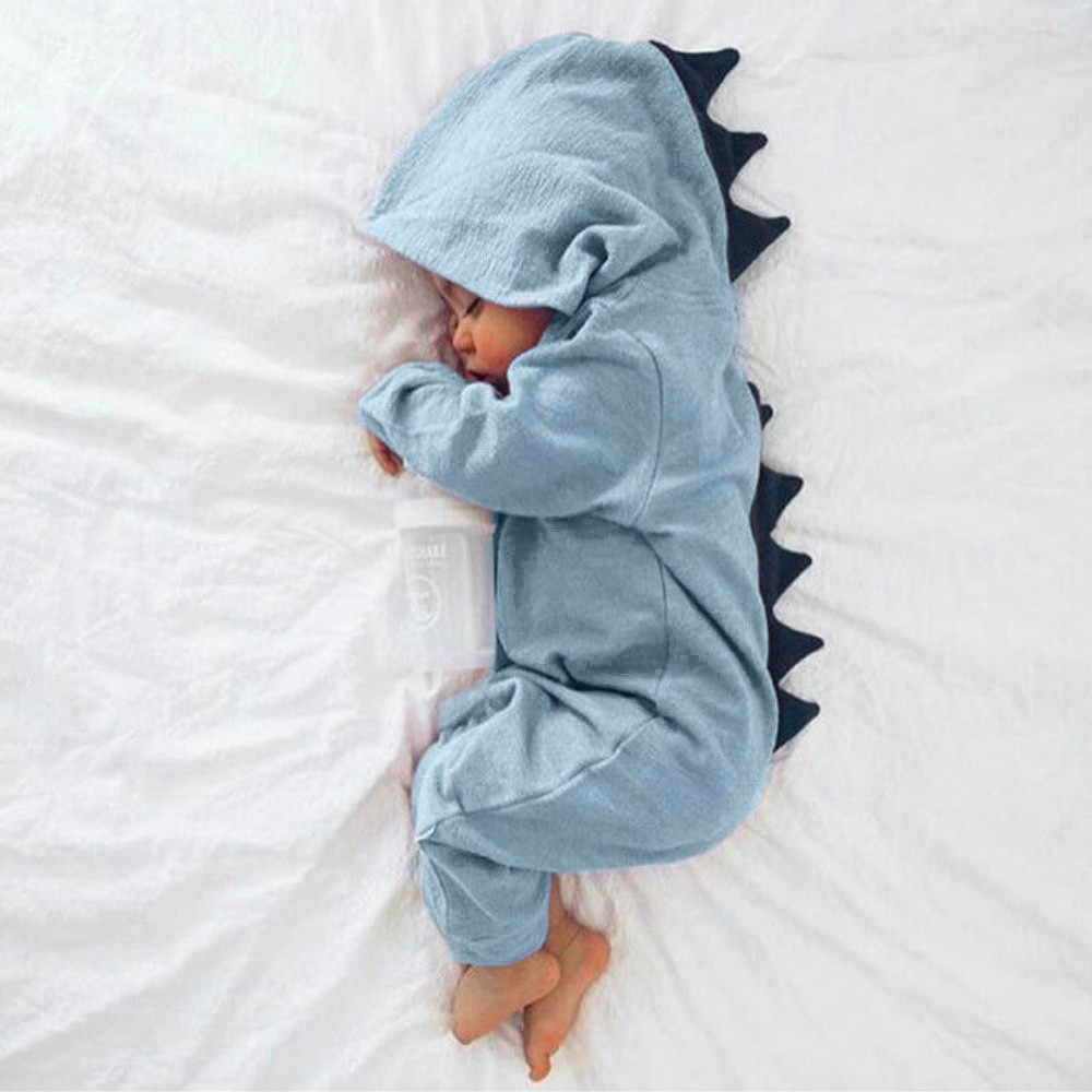 Baby Bodysuit Romper Outfits Hooded Dinosaur Infantil7.041gg Roupa title=