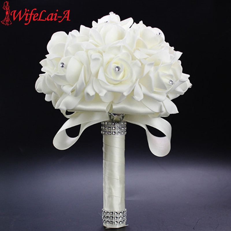 WifeLai-A 1Piece Cheap Bridesmaid Wedding Decoration Foamflowers Rose Bridal Bouquet White Satin Romantic Wedding Bouquet PL15