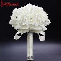 Best Ivory New Bridesmaid Wedding Decoration Foamflowers Rose Bridal Bouquet White Satin Romantic Wedding Bouquet Cheap
