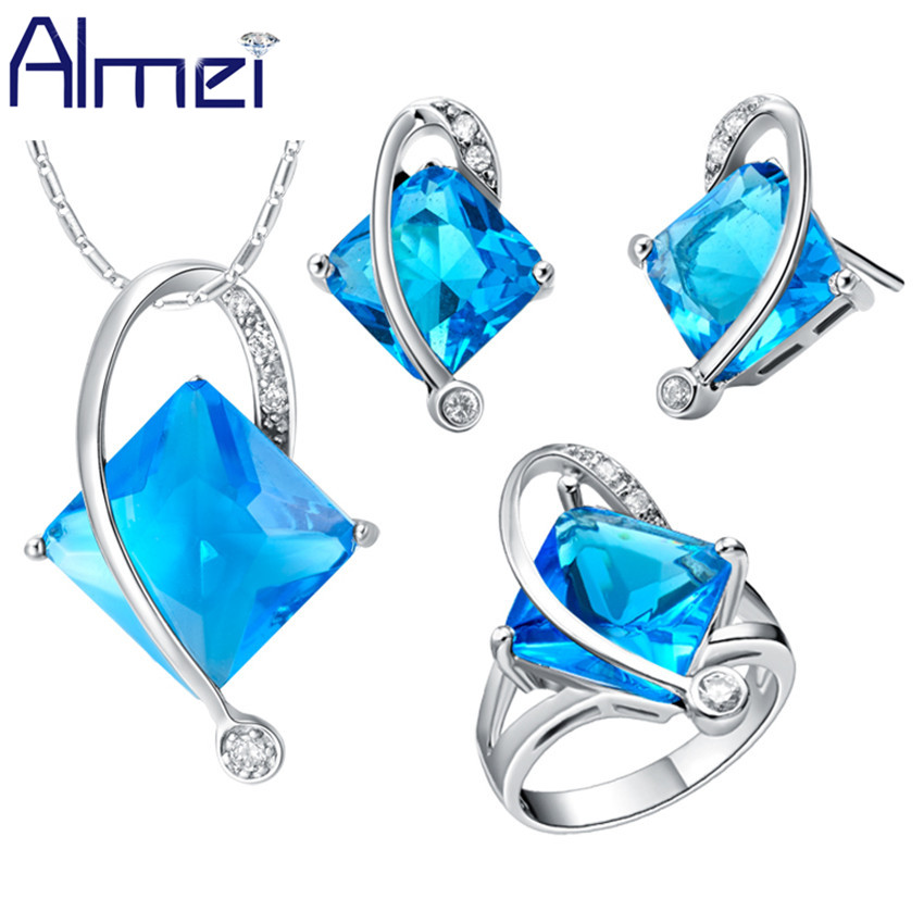 Almei African Beads Jewelry Sets Silver Color Luxury