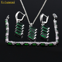 Lan Hot Selling Trendy Silver Planted Jewelry Sets Green Stone AAA Zircon For Necklaces Pendant Earrings