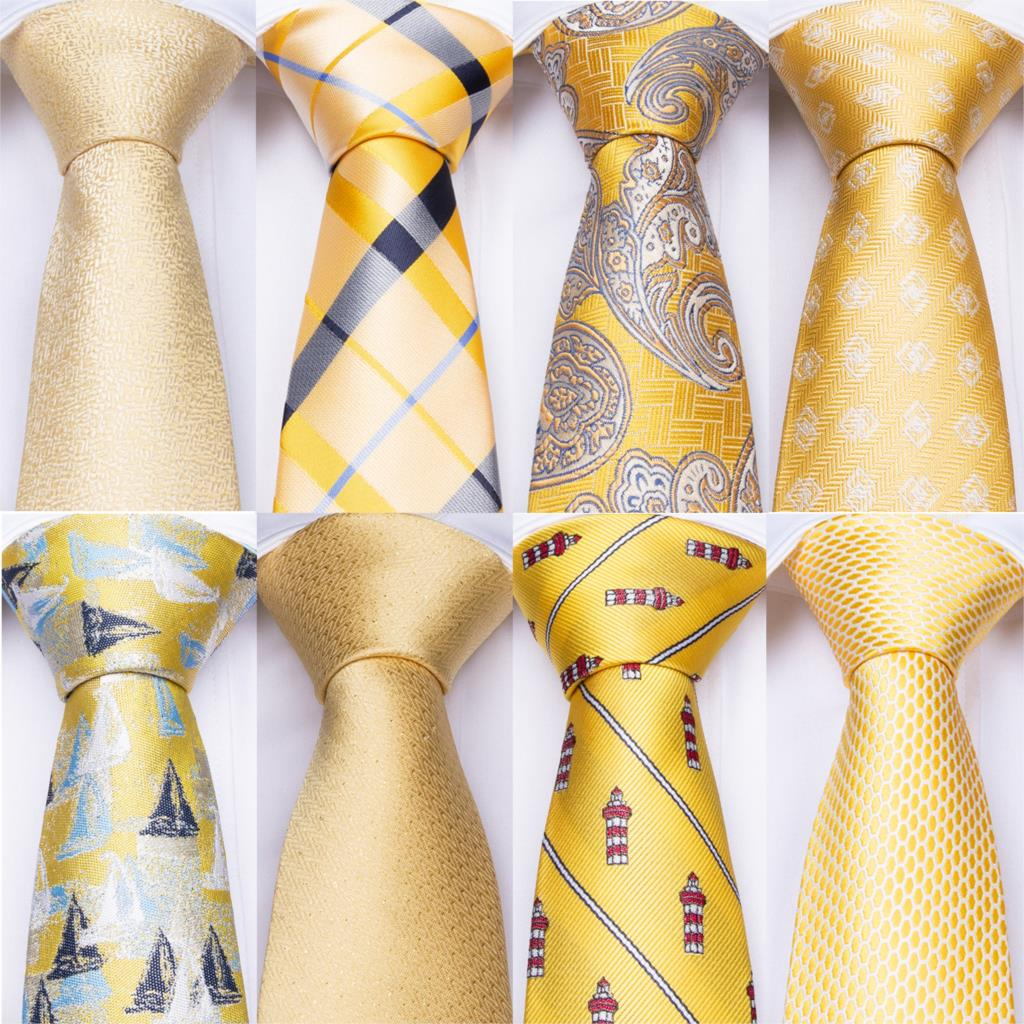 Yellow Mens Ties Pocket Square Cufflinks Set 100% Silk Neck Ties Set For Men Tie For Wedding Party Formal DiBanGu Famous Tie