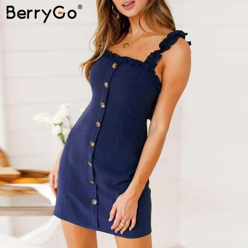 BerryGo женское платье с открытой спиной и бантом, льняное платье, гофрированное платье на бретельках, сексуальное летнее платье, женское праздничное облегающее платье