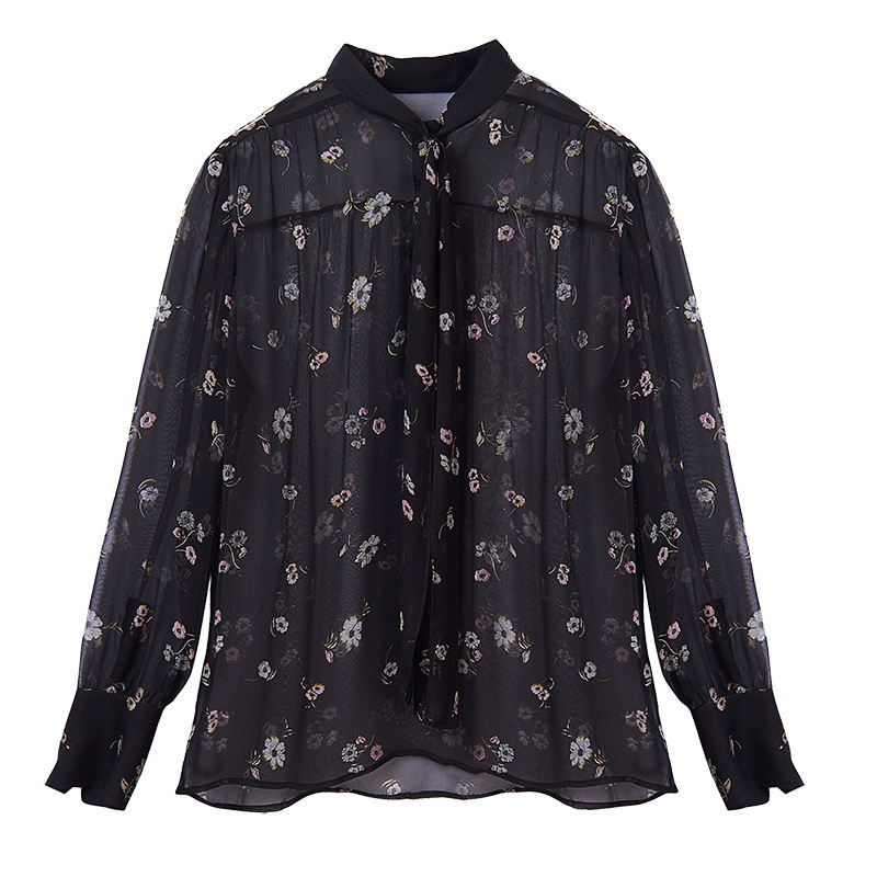 Silk Print Bow See Through Long Sleeve Pullovers Blouse 2019 New Women Spring Summer Office Lady Work Shirts in Blouses amp Shirts from Women 39 s Clothing