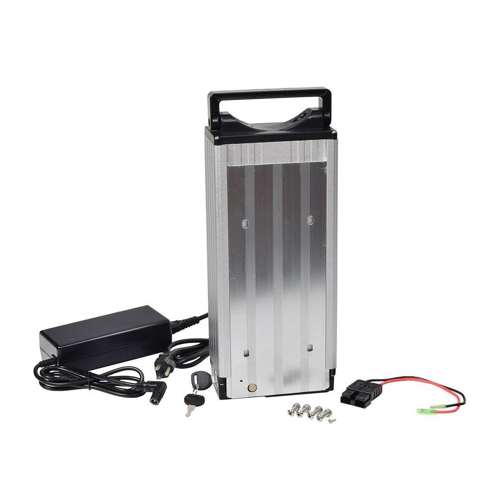 Bateria recarregável 30a bms 250w 1000 w do li-ion da bateria 48 v 20ah da bicicleta elétrica com caixa traseira da cremalheira e carregador 54.6 v ebike