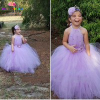 POSH DREAM Lavender Flower Girl Wedding Dress Vintage Flower Lavender Baby Girl Dresses Kids Girls Clothes Can Be Customize