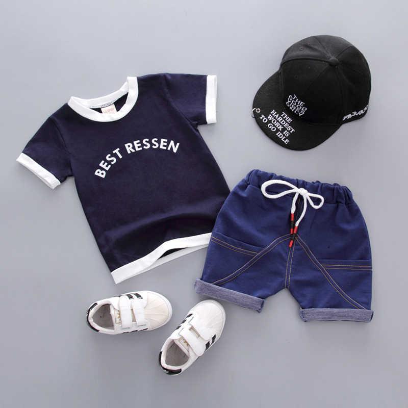 Dziewczynek chłopców ubrania zestaw lato 2019 bawełna Casual stroje dla dzieci bluzka z napisem + spodnie dla dzieci odzież dla dzieci zestaw 1 2 3 4 lata