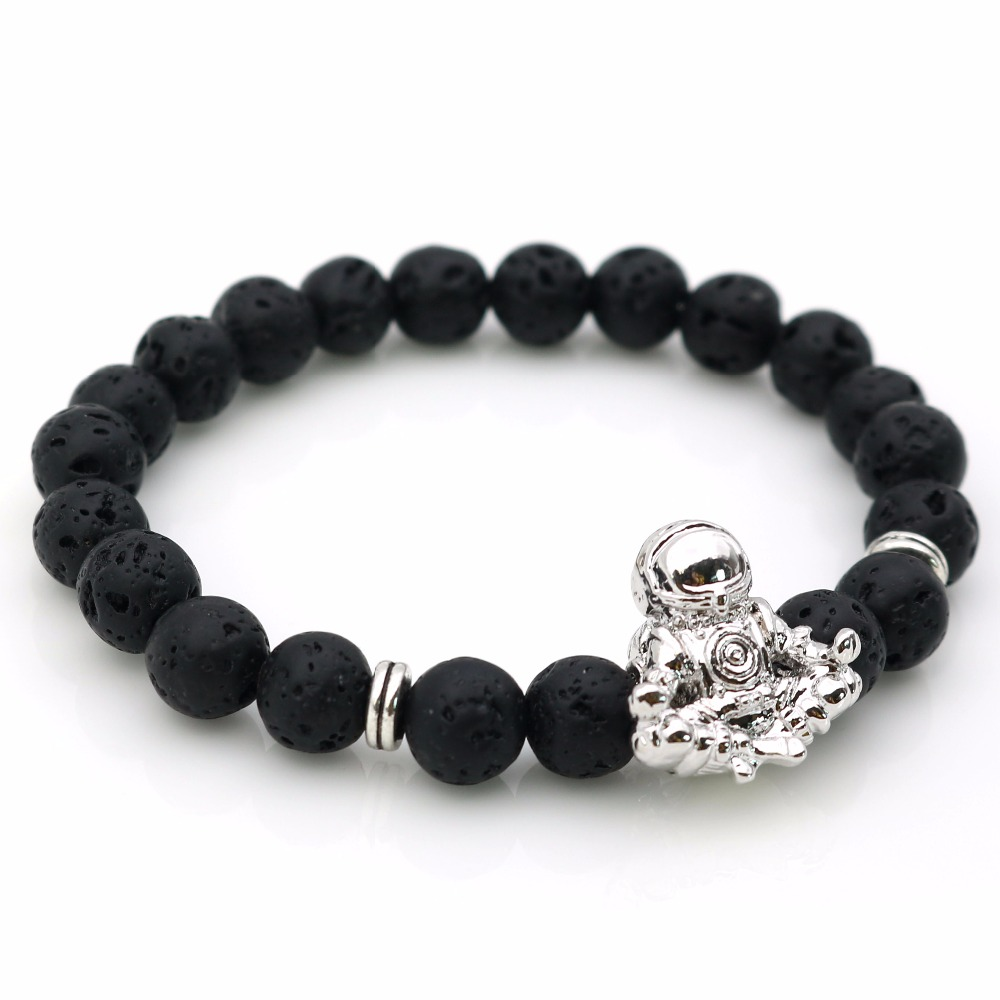 Trendy Astronaut Beaded Jewelry Black Lava with Spaceman Charm Bracelets Meditation Handmade Men's Lucky Gifts Drop Shipping