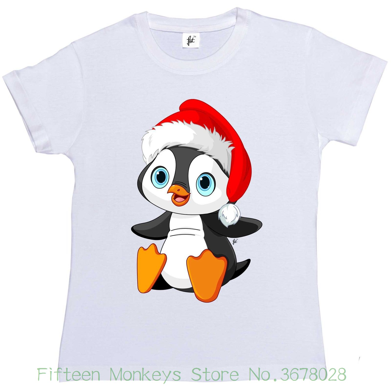 Womens Tee Big Blue Eye Penguin Wearing Christmas Santa Hat Womens Ladies T-shirt Tee Shirts Womens