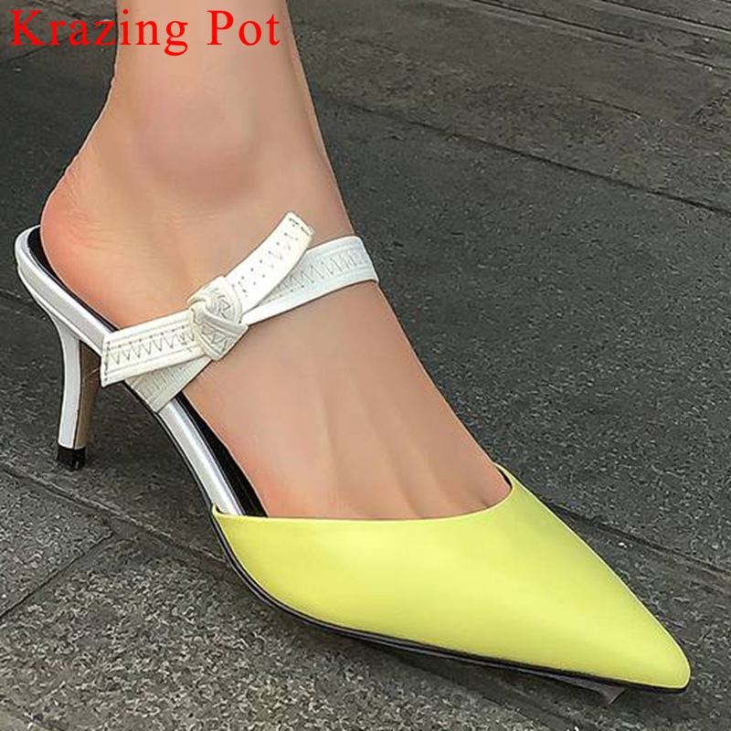 Krazing Pot mixed colors genuine leather slip on mules pointed toe kitten med heels butterfly knot