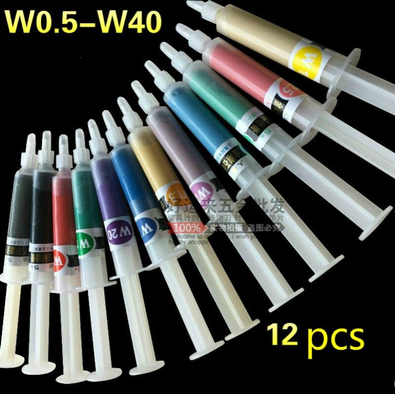 Wholesale 12pcs W0.5-W40 Diamond Grinding Polishing Paste Lapping Compound Grit 320~10000 Abrasive Paste Needle Tube