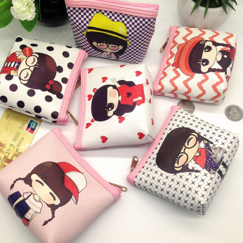 Women cartoon girl Coin Purse PU Leather children Small Clutch Wristlet lady zipper Wallet boy Change Pocket Pouch Bag Keys Case стоимость