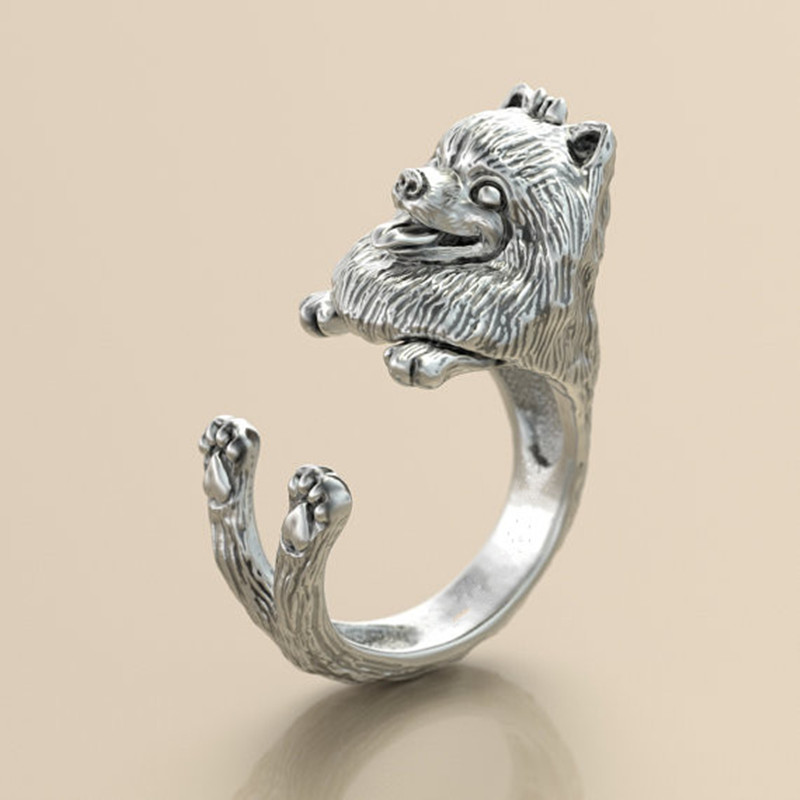 10pcs/lot wholesale retro punk Pomeranian Ring free size cute hippie animal Pomeranian dog Ring jewelry for pet lovers