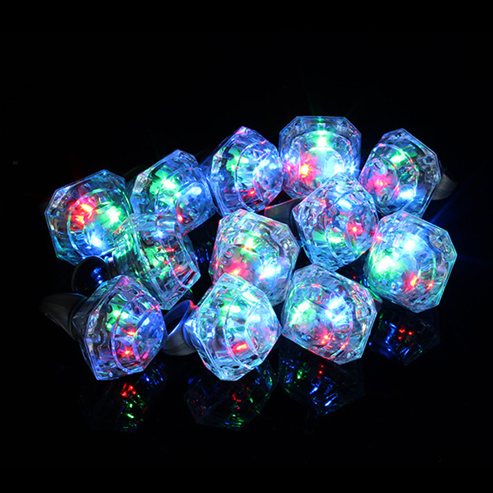 LED Glowing Diamond Finger Ring Novelty Flashing Light-up Toys Kids Birthday Gift Wedding Party Supplies Toys For Children