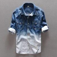 WMSHUO 100 Cotton Long Sleeve Fashion Retro Denim Shirt Men Slim Casual Two Pocket Autumn Simple