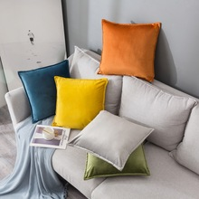 Zippered Solid Color Velvet Throw Pillow Covers Home Cases 45x45 Bed Decorative Cushions Cover