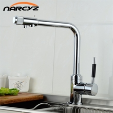 Narcyz Drinking Water Filter Faucet Deck Mounted Mixer Valve Chrome Single Hole Purifier 3 Way Water Kitchen Faucet Mixer XT-32