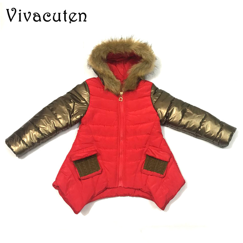 2018 Winter Long Coats For Girl Warm Jacket Kids Fur Collar Hooded Thick Outerwear Black Red Thick Warm Teens Children Down Coat black hooded lapel collar long sleeves sweaters coat