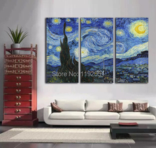 Scenery paintings landscape mural prints home decorative art  starry night c 1889 by Vincent van Gogh 3 panels free shipping 50mm van gogh art paintings refrigerator stickers starry night sunflowers fridge magnet landscape glass crystal cabochon decor