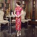 2017 Новое Прибытие Ярко-Розовый Женщин Атласная Cheongsam Китайские Традиционные Длинные шелк Qipao Платье Цветок Размер Sml XL XXL XXXL WC056