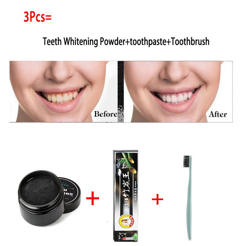 3Pcs Teeth Whitening Set Bamboo Charcoal Toothpaste+Natural Teeth Whitening Powder+Ultra Soft Toothbrush Oral Hygiene Cleaing