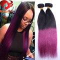"""Purple Ombre grampo em extensões do cabelo humano brasileiro reto de seda dois tons de cor grampo no cabelo 10 """" - 28 """" em estoque frete grátis"""