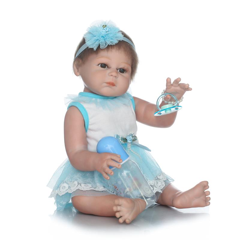 New Style Reborn Baby Girl Dolls 20 Full Vinyl Body Washable Bathed Toys Baby Doll in Blue Dress for Girls Birthday Gifts Toys new 18 american girl doll toys with full vinyl body princess baby toy dolls for girls brinquedos kids birthday christmas gifts