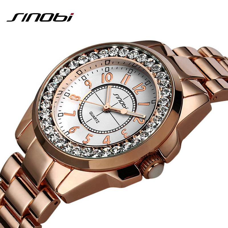 2017 Sinobi luxury Brand Fashion watches Woman Ladies New Gold Diamond relogio feminino Dress Clock female relojes mujer fashion sunglasses women diamond luxury brand design sun glasses female mirrored lens oculos de sol feminino