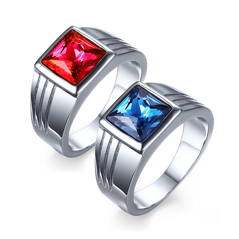 Male Stainless Steel Ring Blue Red Stone Jewelry Ring for Men Wedding Engagement Titanium AAA+ Cubic Zirconia Ring Wholesale