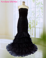 Classic Black Celebrity Dress Sexy Long Strapless Mermaid Ruffles Woman Evening Party Gowns For Special Occasion