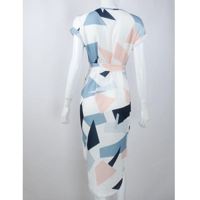 Loneyshow 2017 New Hot Casual Summer Short Sleeve Dress for Women Geometric Printed Elegant Office Lady Knee Length Ve