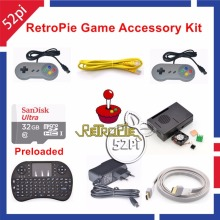 Raspberry Pi 3 Model B 32GB Preloaded RetroPie Game Console Accessories Kit with Gampad Joystick