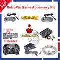 Raspberry Pi 3 Modelo B 32 GB Consola de jogos Pré-carregados RetroPie Acessórios Kit com Joystick Gampad