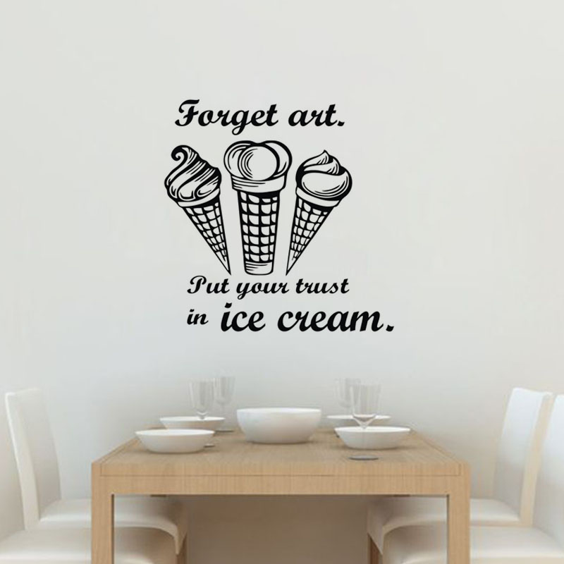 Creative Kitchen Wall Decor: Put Your Trust In Ice Cream Wall Stickers Creative Kitchen Tile Sticker PVC Modern Home Decor