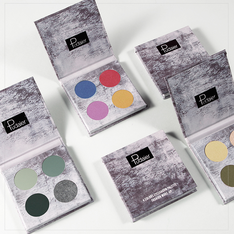 Pudaier 4 Colors Eyeshadow Pallete Shadows Pigment Eye Shadow Palette of Shadows Glitter Eyeshadows Makeup Cosmetics for Makeup in Eye Shadow from Beauty Health
