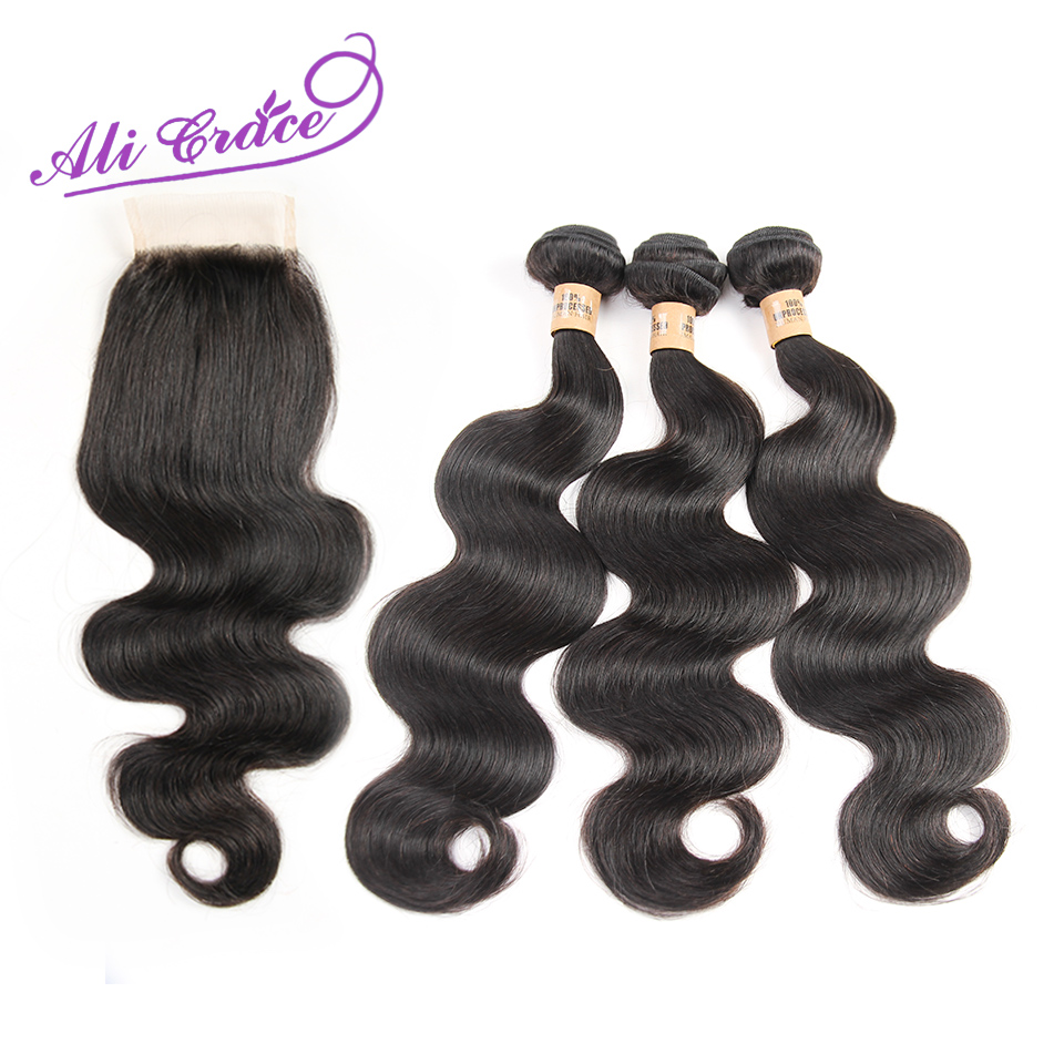 Grace Hair Peruvian Body Wave With Closure 8A Unprocessed Peruvian Virgin Hair With Closure Body Wave 3Bundles With Lace Closure