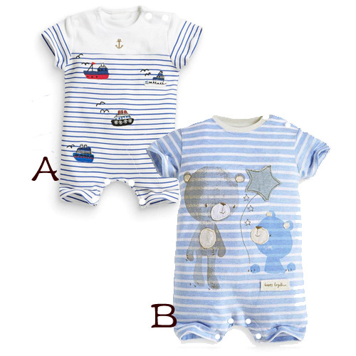 Baby Rompers Hot Summer Baby Boys Clothes Cartoon Bear Deer Casual Stripe Short-sleeved Jumpsuit Toddlor Infant Clothing overall