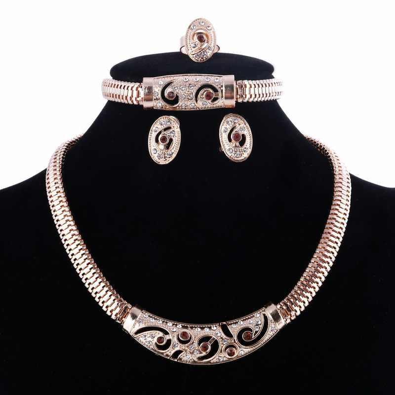 Fashion African Dubai Gold Jewelry Nigerian Crystal Necklace Hoop Earrings Women Italian Wedding Bridal Jewelry Sets