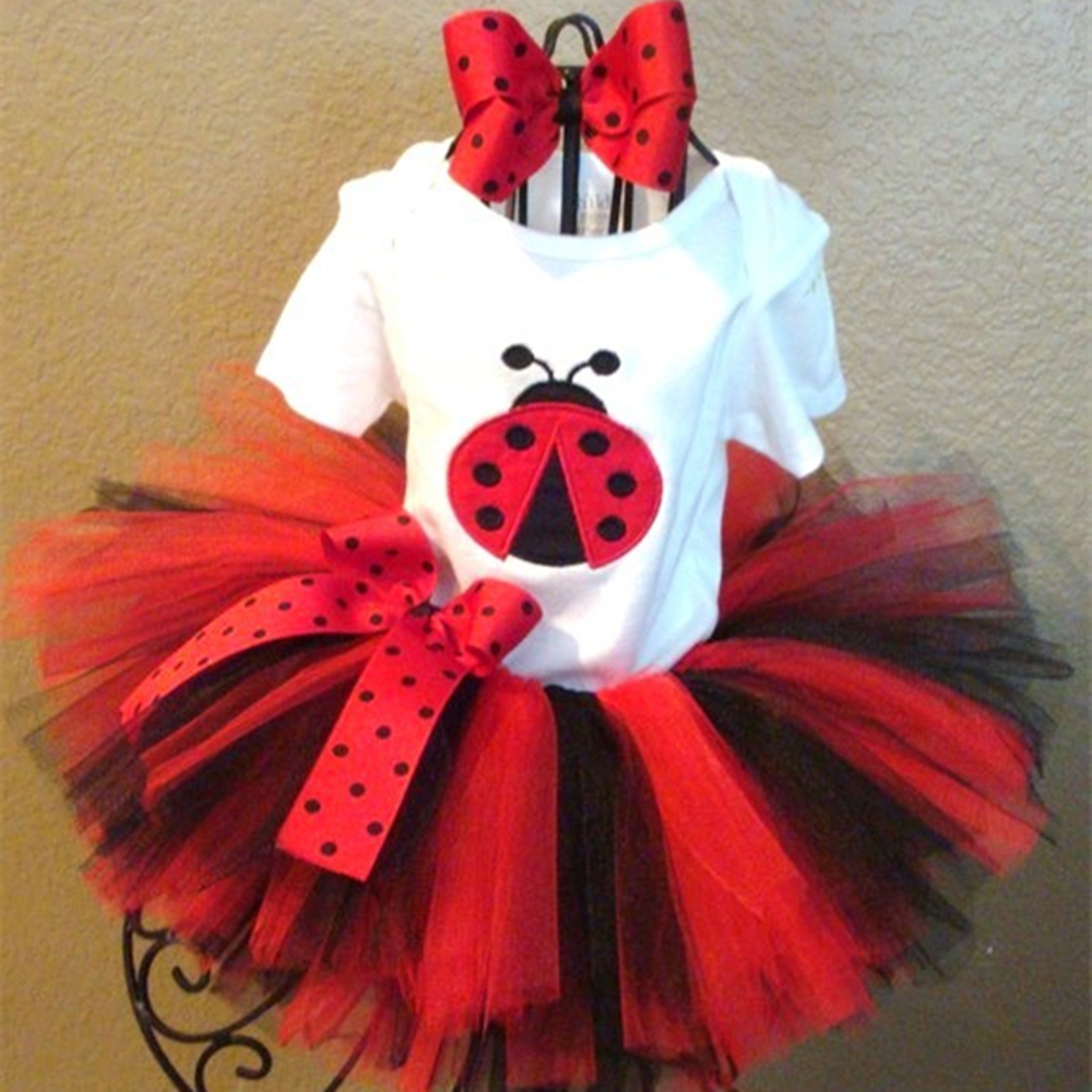 Ladybug Evening Set T-shirt tutu skirt and Headband Girl Children Sets For Birthday Festival Party Cosplay Evening Clothing P57 two pieces kid girl set tutu summer flower cotton t shirt tutu skirt sets children outfits dance party prom clothing