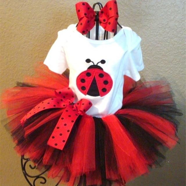 Ladybug Evening Set T-shirt tutu skirt and Headband Girl Children Sets For Birthday Festival Party Cosplay Evening Clothing P57