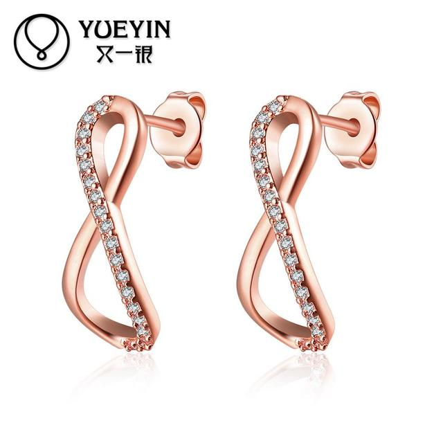 85718380d Rose/yellow gold color earrings for women Engagement jewelry fashion  earrings gift nausnice Jewelry supplier Romantic